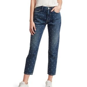 Current/Elliott Studded High Waist Crop Slim Jeans
